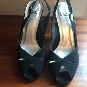 Stuart Weitzman blk peep toe sandal heels